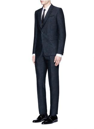 模特儿示范图 - 点击放大 - DRIES VAN NOTEN - 罗缎条纹拼贴纯棉衬衫
