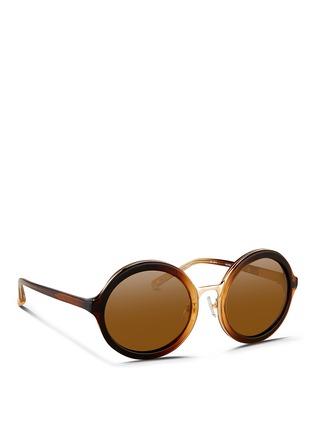 模特儿示范图 - 点击放大 - 3.1 PHILLIP LIM - 板材拼接金属圆框太阳眼镜