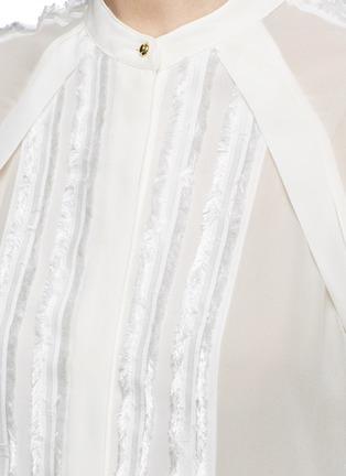 细节 - 点击放大 - 3.1 PHILLIP LIM - 须边条纹真丝雪纺衬衫