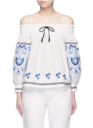 首图 - 点击放大 - NICHOLAS - 花卉刺绣棉混丝露肩上衣