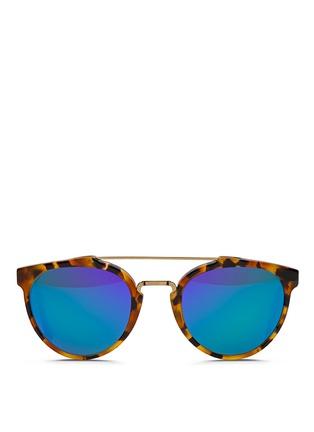 首图 - 点击放大 - SUPER - GIAGUARO中性款玳瑁纹板材圆框太阳眼镜