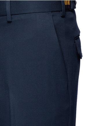 细节 - 点击放大 - DRIES VAN NOTEN - 卷边裤腿口羊毛及踝裤