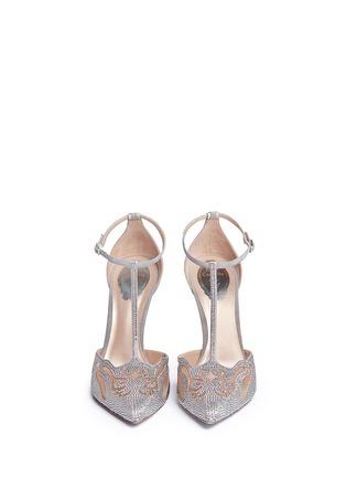 正面 - 点击放大 - RENÉ CAOVILLA - T形搭带仿水晶装饰细跟鞋