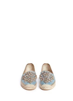 模特示范图 - 点击放大 - RENÉ CAOVILLA - 仿水晶点缀牛仔草编平底鞋