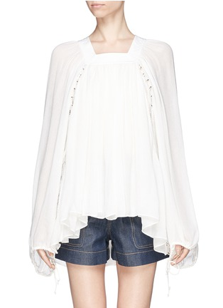 首图 - 点击放大 - CHLOÉ - Ladder stitch embroidery silk gauze blouse