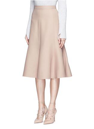 正面 -点击放大 - VALENTINO - 单色羊毛混丝绉绸半身裙