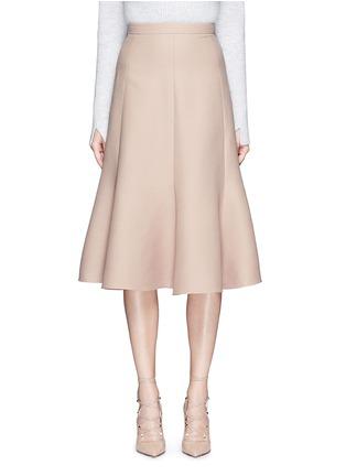 首图 - 点击放大 - VALENTINO - 单色羊毛混丝绉绸半身裙
