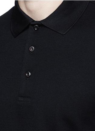 细节 - 点击放大 - GIVENCHY - 条纹拼贴纯棉polo衫