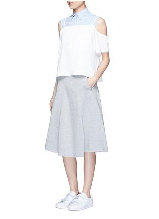 模特儿示范图 - 点击放大 - ALEXANDERWANG.T - 单色混棉半身裙