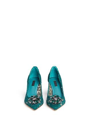 正面 - 点击放大 - DOLCE & GABBANA - 施华洛世奇仿水晶装饰蕾丝中跟鞋