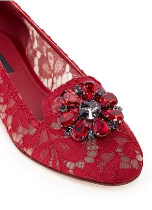 细节 - 点击放大 - DOLCE & GABBANA - 仿水晶花卉蕾丝平底鞋
