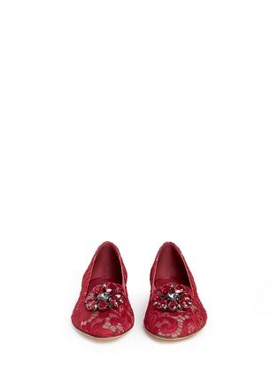 正面 - 点击放大 - DOLCE & GABBANA - 仿水晶花卉蕾丝平底鞋