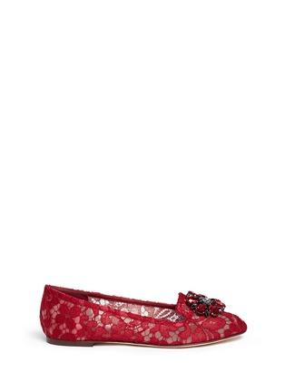 首图 - 点击放大 - DOLCE & GABBANA - 仿水晶花卉蕾丝平底鞋