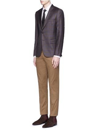 模特儿示范图 - 点击放大 - Paul Smith - 彩色条纹拼接纯棉衬衫