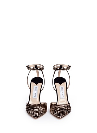 正面 - 点击放大 - JIMMY CHOO - KIZZY铆钉装饰麂皮拼网眼高跟鞋