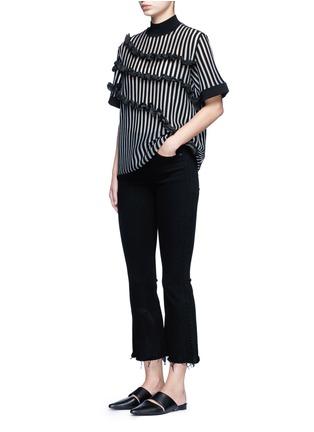 模特儿示范图 - 点击放大 - OPENING CEREMONY - 荷叶边竖纹混羊毛针织衫
