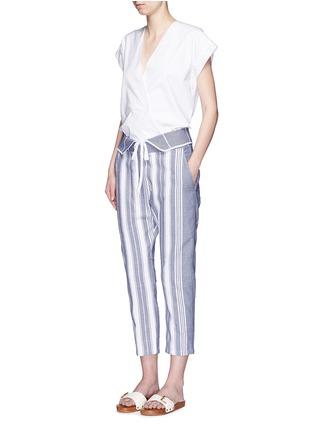 模特示范图 - 点击放大 - KOZA - Brooke梭织条纹纯棉九分裤