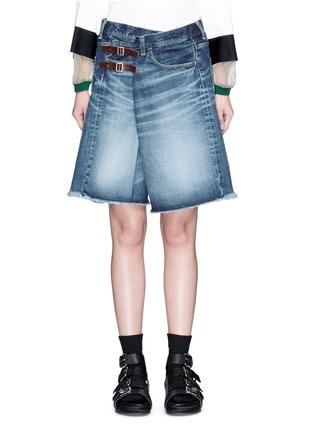 细节 - 点击放大 - FACETASM - 水洗搭带须边牛仔短裤