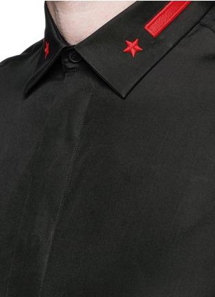 细节 - 点击放大 - GIVENCHY - 条纹五角星刺绣纯棉衬衫