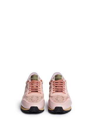 正面 - 点击放大 - VALENTINO - 蕾丝拼贴橡胶铆钉低筒运动鞋