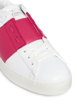 细节 - 点击放大 - Valentino - 拼色系带运动鞋