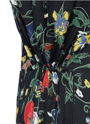 细节 - 点击放大 - TIBI - JOSEPHINA花卉图案镂空真丝连衣裙