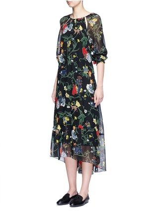 模特示范图 - 点击放大 - TIBI - JOSEPHINA花卉图案镂空真丝连衣裙