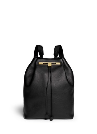 首图 - 点击放大 - The Row - Grainy leather drawstring backpack