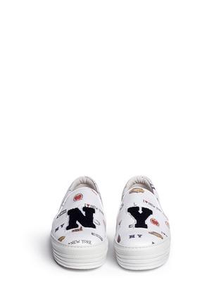 正面 -点击放大 - JOSHUA SANDERS - 纽约印花字母布贴厚底便鞋