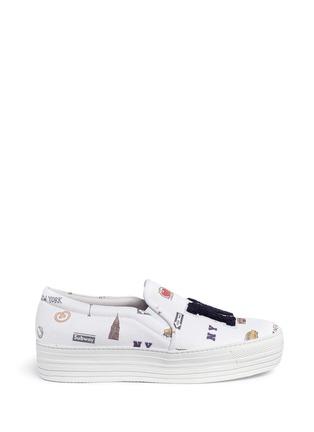 首图 - 点击放大 - JOSHUA SANDERS - 纽约印花字母布贴厚底便鞋
