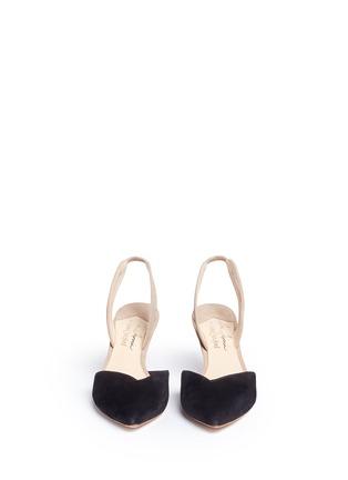 正面 - 点击放大 - ISA TAPIA - CLEMENTINA拼色绒面皮侧空高跟鞋