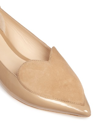细节 - 点击放大 - ISA TAPIA - CLEMENT心形绒面皮拼接漆皮平底鞋