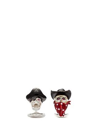模特儿示范图 - 点击放大 - DEAKIN & FRANCIS - 海盗骷髅头造型纯银袖扣