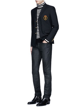 模特儿示范图 - 点击放大 - SAINT LAURENT - 徽章拼贴羊毛西服外套