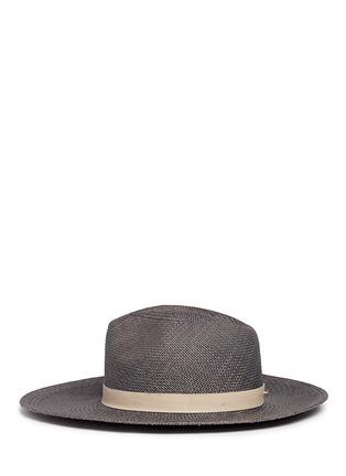 模特儿示范图 - 点击放大 - JANESSA LEONE - Dahlia羊皮帽带装饰草帽