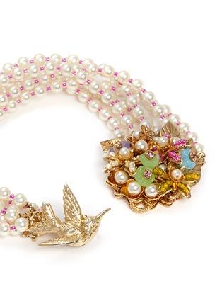 细节 - 点击放大 - MIRIAM HASKELL - 小鸟花卉造型玻璃珍珠手链