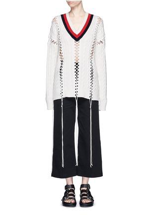 首图 - 点击放大 - ALEXANDER WANG - 拼色扭花系带条纹针织衫