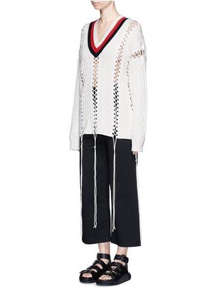 模特示范图 - 点击放大 - ALEXANDER WANG - 拼色扭花系带条纹针织衫
