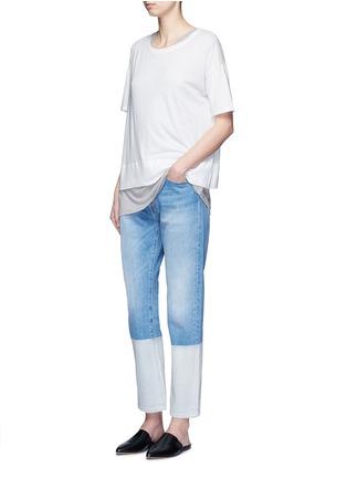 模特示范图 - 点击放大 - Vince - 落肩袖皮马棉T恤