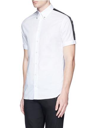 正面 -点击放大 - ALEXANDER MCQUEEN - 条纹拼贴棉质短袖衬衫