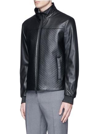 正面 -点击放大 - ARMANI COLLEZIONI - 几何花纹小羊皮高领夹克