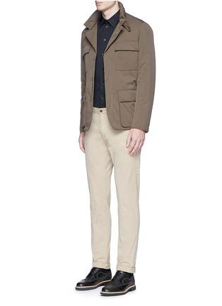 模特儿示范图 - 点击放大 - ARMANI COLLEZIONI - 单色纯棉修身衬衫