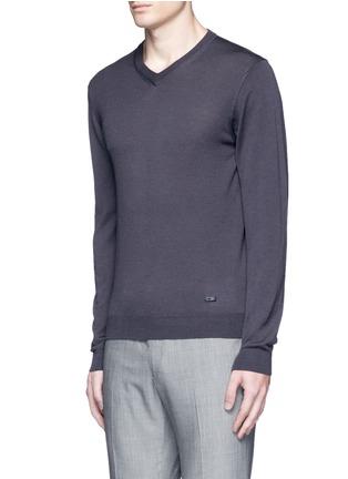 正面 -点击放大 - ARMANI COLLEZIONI - 单色V领羊毛针织衫