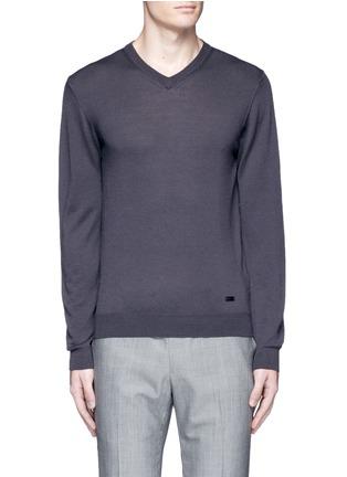 首图 - 点击放大 - ARMANI COLLEZIONI - 单色V领羊毛针织衫