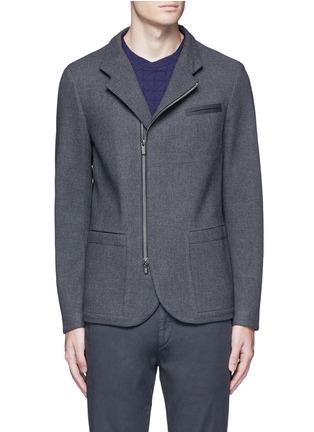 首图 - 点击放大 - ARMANI COLLEZIONI - 拼色两用领外套