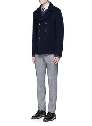模特儿示范图 - 点击放大 - ARMANI COLLEZIONI - 双排扣混羊毛外套