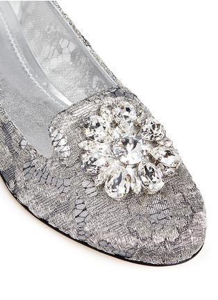 细节 - 点击放大 - DOLCE & GABBANA - 仿水晶装饰蕾丝乐福鞋