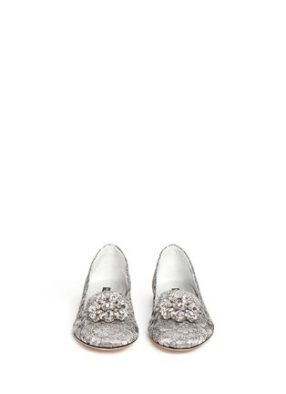 正面 - 点击放大 - DOLCE & GABBANA - 仿水晶装饰蕾丝乐福鞋