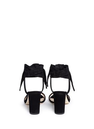 背面 - 点击放大 - JIMMY CHOO - KORA条纹质感绑带绒面皮高跟凉鞋