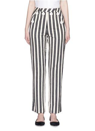 首图 - 点击放大 - MO&CO. EDITION 10 - 钮扣装饰条纹棉质长裤